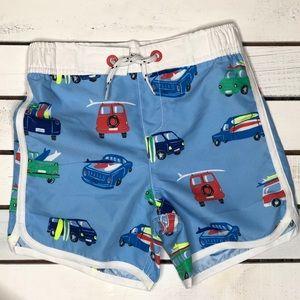 NWT Mini Boden toddler swim shorts surf vans 5-6yr